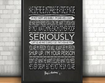 Greys Anatomy Poster, Quotes posters, Word Art, Word Cloud, Poster and Print