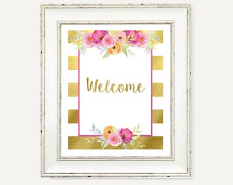 Welcome Gold Pink Printable Sign - Watercolor Floral Party Decorations - Baby Shower Party - Watercolor Flowers - Baby Shower Printable Art