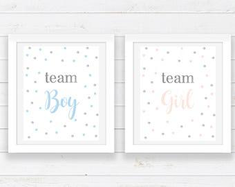 Team Boy Team Girl Printable Party Decor - Gender Reveal Party Decor - Printable Art - Baby Shower Print - Confetti Print - Party Signs