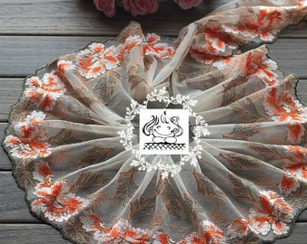 Orange colored lace Peony bright tulle embroidered Ref 15cm. 1721