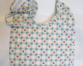 Blue and White Gingham with pink mini hearts! Baby Bib! Handmade! Reversible! 100% Cotton!