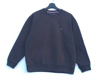 Rare!! TOMMY HILFIGER Small Logo Embroidery Branded Hip hop Swag Black Colour Small Size