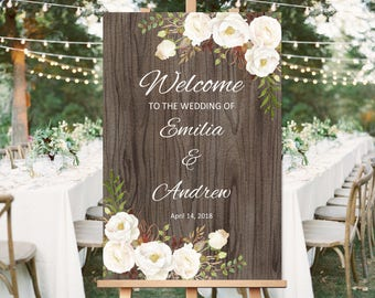 Welcome Wedding Sign, Rustic Welcome Wedding Sign Template, Printable Wedding Reception Sign, #A052, INSTANT DOWNLOAD, Editable PDF