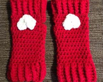 Valentines fingerless gloves /wrist warmers