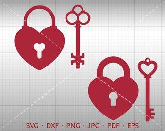 Heart Lock Key SVG, Heart Shaped Lock Key Clipart DXF Silhouette Cricut Cut File Vector Commercial Use