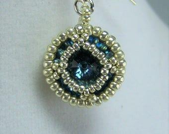 HE432, Swarovski Denim Blue Crystal and Silver Hand Beaded Earrings