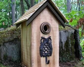 Owl Natural Wood Bird House