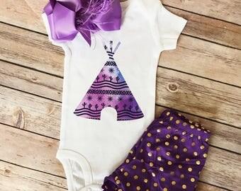 Baby girl boho onesie/bodysuit teepee/cactus