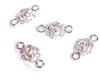 10 connectors flower plated silver 19 x 9 mm