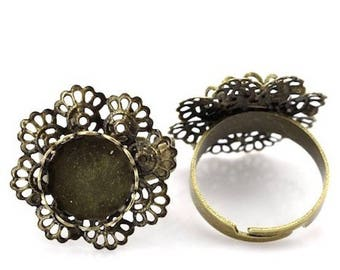 2 support ring adjustable 17.5 mm (12 mm cameo pr) Bronze flower tray