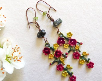 Spring earrings for girl, Branches of red flowers with yellow flowers