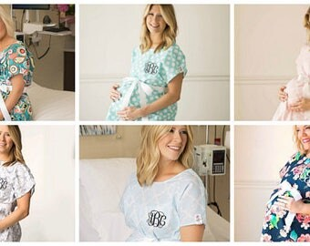 Personalized Labor Gowns.Monogramed Delivery Gowns.Cute Hospital Gowns..Printed Nursing Gowns with matching baby gown option