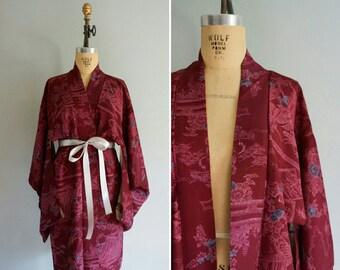 vintage Mayu silk haori | vintage 1950s silk kimono | silk kimono robe