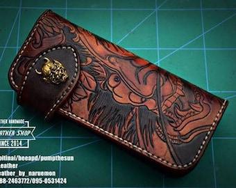 Long Wallet Model : Kabuki Tooled Wallet   By I'Leather
