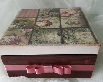 Vintage Wooden TEA BAGS BOX, Tea box, Jewelry Box, Keepsake Box, Memory Box, Birthday gift for women, Handmade, Hand crafted, Roses, New