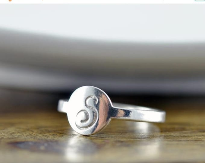 10% off SALE sterling silver initial ring, initial ring, initial jewelry, stacking rings, gift for her, rings for women