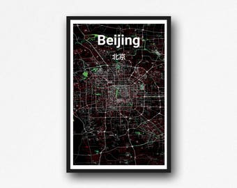 Modern Looking Beijing Map Wall Art - Digital Download