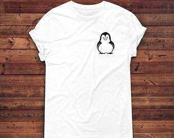 Penguin gift etsy penguin pocket t shirt cute penguin shirt penguin t shirts animal negle Images