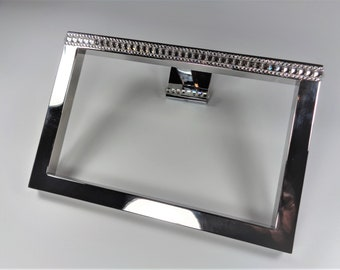 Towel holder in a modern square designed with hand encrusted authentic Swarovski crystals