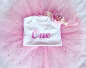 Baby girl full birthday outfit tutu crown tiara headband any age glitter one 1st two 2 princess pink top tshirt vest cake smash