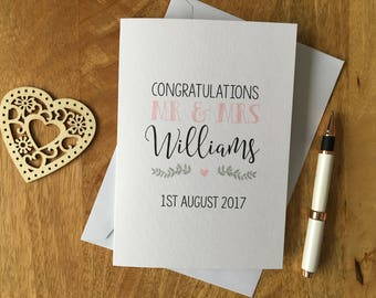 Personalised Engagement Wedding Day Card Congratulations Love Mr & Mrs