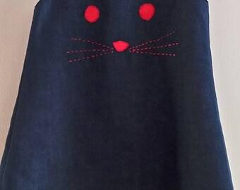 Thin denim with cat head dress