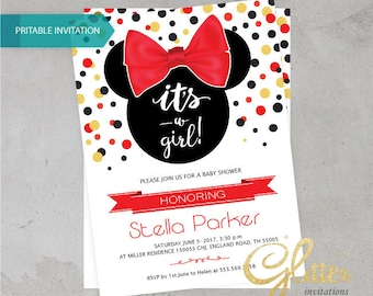 Minnie Mouse Baby Shower invitation,digital printable pdf,Girl baby shower invitation,