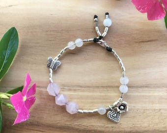 Goddess of LOVE bracelet - Karen Hill Tribe Silver - Rose Quartz