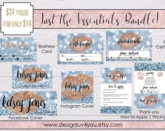 LipSense Marketing Bundle | LipSense Marketing Kit | Blue Bokeh Mini Bundle | LipSense Business Card | *DIGITAL FILE ONLY*