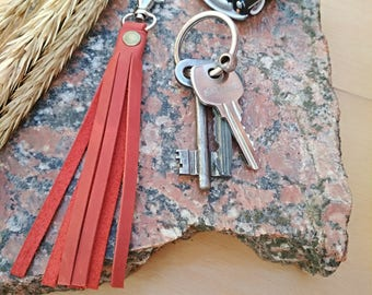 Leather tassel Keychain leather leather key fob key chains horween leather Strap for clutch Strap for keys Key fob leather key clip