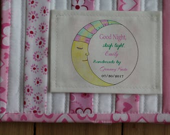 Personalized Sewing Labels | Personalized Quilt Labels | Handmade Labels | Custom Fabric Labels | Cut-Out Labels | Birth Stats Label