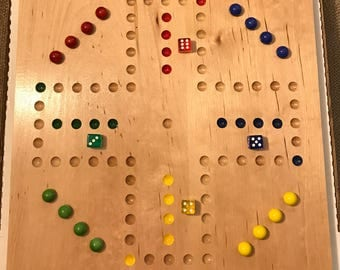 "15"" Solid Birch or Oak 4 Player Aggravation Board (Wahoo) with Marbles, dice, and instructions."