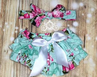 Mint Floral Baby Bloomer, Baby Girl Ruffle Diaper Cover