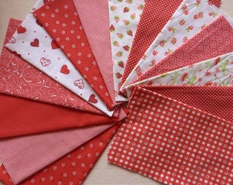 14 coupons fabric patchwork Cotton sewing 30 X 14 cm red tones