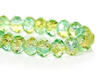 10 glass faceted 8 mm yellow green Crackle beads