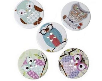 5 round wooden buttons sewing, children, 3 cm owls family scrapbooking