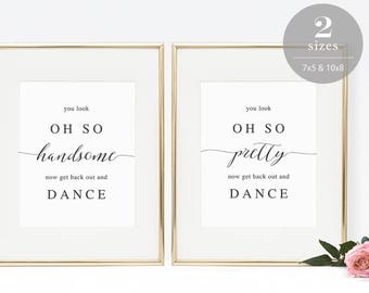 Wedding Bathroom Signs Printable, Wedding Restroom Sign Template, You Look Oh So, Get Back Out Dance, Instant Download PDF #SPP007wrs