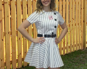 White with Navy Pinstripe Baseball Dress, featuring Yankees patch. Size small