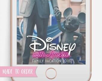Disney Snapchat Filter, Disney Snapchat Geofilter, Custom Options Filter, Disney, Neon, Family Vacation, Vacation, road trip