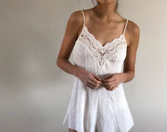 80s Teddy Romper Embossed with Lace Trim Eggshell | XS/S