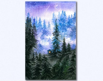 Forest print, starry night forest, watercolor forest, night forest print, wall art, watercolor nature, watercolor print, Digital Download