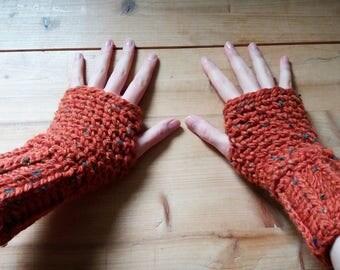 Crochet orange Fingerless Mittens