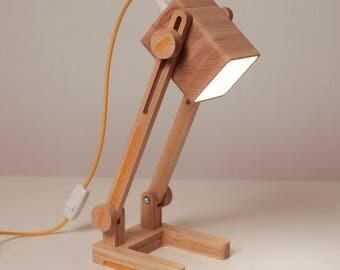 Wood lamp/Yellow desk lamp/Table lamp