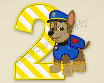 SALE! Paw Patrol Chase Second birthday applique embroidery design, Paw Patrol Machine Embroidery Designs, Embroidery designs baby, #068