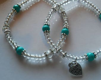 Turquoise Beaded Bracelet Set, Handmade