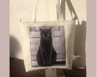 leather bag with photo