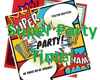 Pop Art theme party invitation Instant download