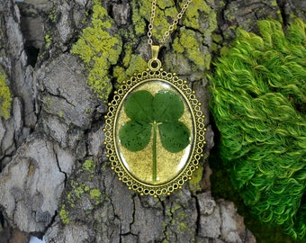 "Genuine 4 Leaf Clover Cameo Necklace [BC 013] /Gold Tone 18"" Necklace / White Clover Pendant / Triforium Repens / Good Luck Charm"