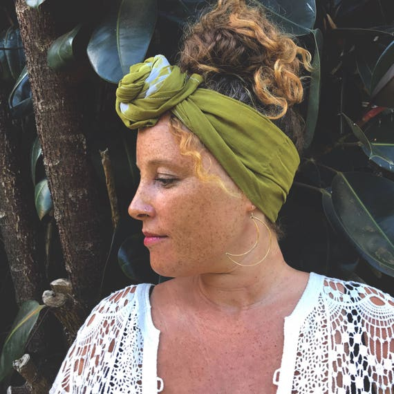 """Natural Plant Dyed Earthen Green Organic Cotton Wrap, 18x72"""", Pattern Options"""