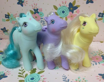Vintage Hasbro My Little Pony Flutter Ponies ~Peach Blossom, Forget-Me-Not, Rosedust~